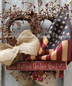 Corona patriótica Americana guirnalda por NewEnglandWreath en Etsy