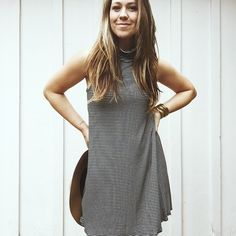 """Mabel"" Striped Cowl Neck Swing Tank Dress  from Carly Jean for $42.00"