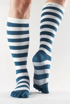 Toesox Knee High with Grips Blue White Stripe Large ToeSox. $16.00