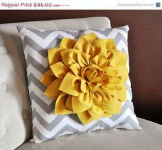 MOTHERS DAY SALE Mellow Yellow Dahlia on Gray and White Zigzag Pillow -Chevron Pillow-