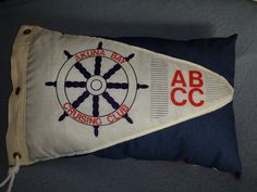 Nautical pillow made from vintage Akuna Bay by SalvageSistasToo