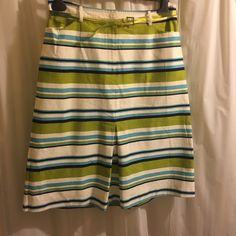 Kenzie white, green, blue and black stripe skirt Size 10 Kenzie skirt features two pockets and inverted pleats at back and front kenzie Skirts Midi