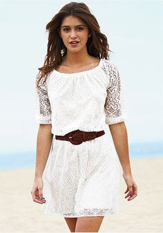 Long-Sleeve-Lace-Dress with cowboy boots