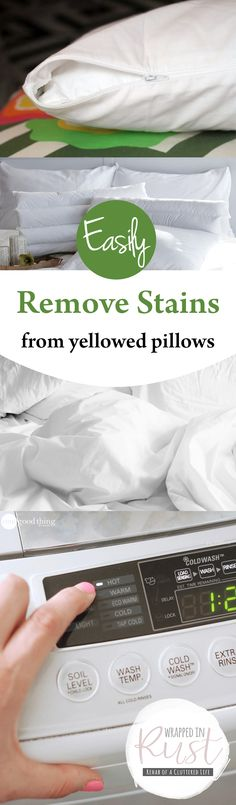 Easily Remove Stains from Yellowed Pillows| Cleaning, Cleaning Hacks, How to Remove Stains from Pillows, Clean Pillows, How to Easily Clean Pillows, Popular Pin #Cleaning #CleanPillows