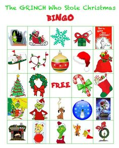 Grinch Christmas Party I am one of the room moms for my son's grade class. I thought it would be fun to give the hour long party a theme. We came up with the Grinch, and I couldn't be more excited. My kids have wat… School Christmas Party, Grinch Christmas Party, Grinch Who Stole Christmas, Christmas Bingo, Preschool Christmas, Christmas Activities, Kids Christmas, Xmas Party, Holiday Fun