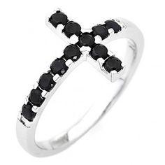 Ring AMEN Cross white silver 925, black zircons | online sales on HOLYART.com
