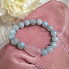 Rose quartz and aquamarine bracelet by IrkaDesign on Etsy
