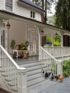white railing, front porch stone and stairs - Google Search