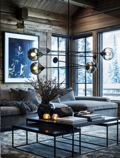 〚 Exquisite contemporary chalet in Norway〛interior design home decor idea inspiration cozy style wooden cottage dark atmosphere sofa 570198002821201820 Cabin Interiors, Dark Interiors, Rustic Interiors, Beautiful Interiors, Industrial Interiors, Chalet Design, House Design, Chalet Style, Design Design