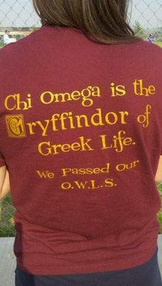 Harry Potter x Chi Omega shirt.if this was delta zeta my life would be made. Alpha Sigma Alpha, Alpha Chi Omega, Delta Zeta, Kappa Delta, Phi Mu, Omega 3, Sorority Sugar, Sorority Life, Sorority Recruitment