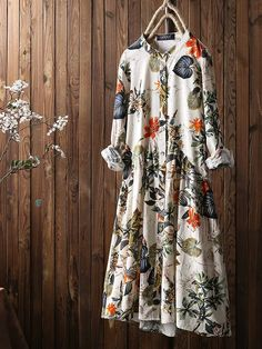 Leaves Floral Print Pleated Long Sleeve Vintage Dress is high-quality, see other cheap summer dresses on NewChic. Plus Size Vintage, Vestidos Vintage, Long Sleeve Vintage Dresses, Dresses With Sleeves, Fashion Vestidos, Robes Vintage, Cheap Summer Dresses, Themed Outfits, Dresses Online