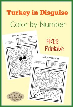Turkey.in Disguise Color by Number Pages. FREE printable Turkey in Disguise activity for kids.   #turkeyindisguise #freeprintable #thanksgiving Thanksgiving Activities For Kids, Holiday Activities, Thanksgiving Crafts, Learning Activities, Kids Learning, Happy Thanksgiving, How To Disguise Yourself, Preschool Scavenger Hunt, Printable Turkey