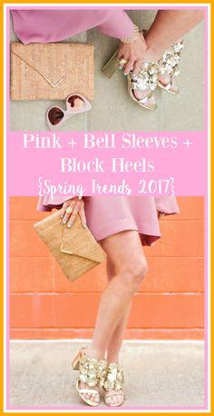 SheShe's Spring 2017 trend alert- pink, bell sleeves and block heels.