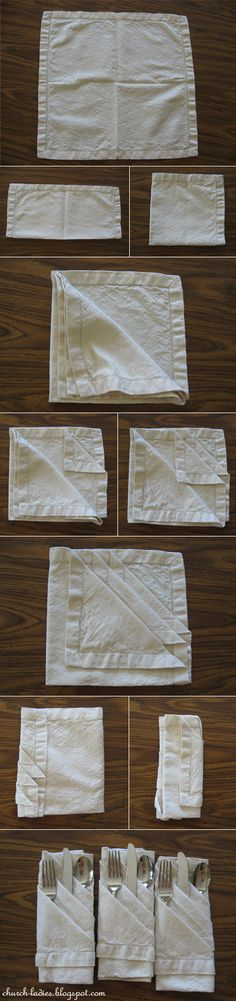 napkin folding- perfect for simple silverware layout. We are only renting one size fork, thankyouverymuch
