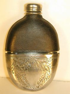 Antique Victorian Vintage Hip Flask Leather Silver Sheffield Plate c1895 Floral   eBay