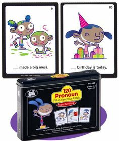 120 Pronoun Fill-in Sentence Fun Deck Cards - Super Duper Educational Learning Toy for Kids by Super Duper Publications. $24.95. I or me? We or us? He or him? Which pronoun should you use in this sentence? 120 Pronoun Fill-in Sentence Cards Super Fun Deck has 120 fill-in-the-blank, illustrated, sentence cards to help children learn the proper use of subjective, objective, possessive, and reflexive pronouns. Players read the cards and then choose the pronouns t...
