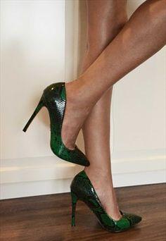 High heels with snake print