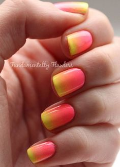 The melon and yellow color combination is perfect for creating a candy themed gradient nail art.