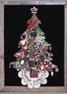 Jewel Christmas Tree like the addition of the tree skirt/doily