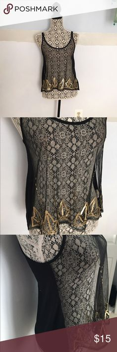 Sheer sequined tank In perfect condition! Sheer in front and solid in the back Decree Tops