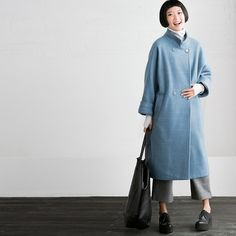 Wool Double-Breasted Winter Coat Women Clothes W8065A