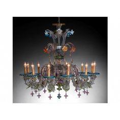 Lustre artisanal de Murano de type floréal