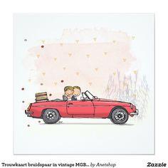Trouwkaart bruidspaar in vintage MGB cabrio 13,3x13,3 Vierkante Uitnodiging Kaart