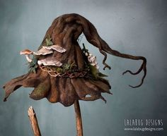 A witchy werifesteria hat handsculpted with merino wool fibers by lalabug designs