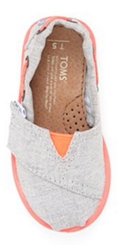 Baby TOMS in grey & coral http://rstyle.me/n/j36zvnyg6