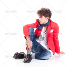 Buy Fashion man by refleXtions on PhotoDune. Une isolated fashion man sit on white background Male Models Poses, Male Poses, Body Reference Poses, Drawing Reference, White Studio Background, Face Fashion, Mens Fashion, Boy Poses, Teen Models