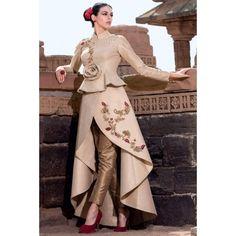 Buy Samyakk Beige Silk Embroidered Salwar Suit online in India at best price. Buy Beige nice brocade indowestern outfit Online