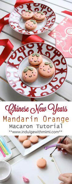 Cute Mandarin Faces Macarons filled with Orange Chocolate Ganache