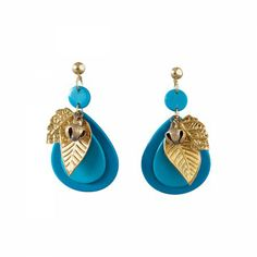 Lacrom Store || Ghingi Mingi Goi, Accessories, Earrings  Fun earrings made of bakelite featuring brass leaves and little bell embellishments.