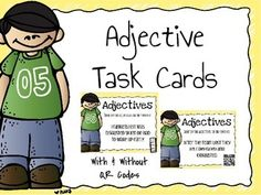 Task cards with and without QR codes to help kiddos identify adjectives in a sentence!!