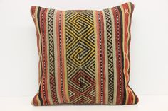 Natural Kilim Pillow Cover 18 x 18 Geometric Pillow Square Pillow  Message Pillow Pillow Case Bolster Pillow Bedding Pillow  Z-374 by kilimwarehouse on Etsy