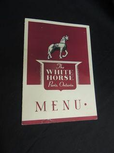 Vintage Menu The White Horse Restaurant Paris Ontario Canada Souvenir Travel
