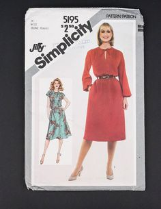 80's Dress Sewing Pattern in my Etsy shop https://www.etsy.com/ca/listing/567649516/80s-simplicity-sewing-pattern-5195-1981