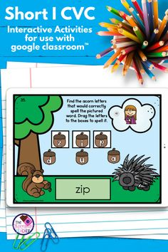 How about some NO PREP paperless digital CVC Words fun? This CVC short I Google Slides™ product is compatible with Google Classroom™. All you do is download, assign, Short I Activities, Interactive Activities, Kindergarten Literacy, Literacy Centers, Short I Words, Woodland Animals Theme, Blending Sounds, Digital Literacy, Cvc Words