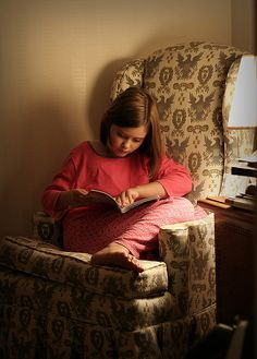 Reading Time: Reading quietly before bedtime by adwriter