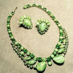 Vintage necklace & Earrings Set Light Green Cabochons Dark Green Rhinestones #Unbranded