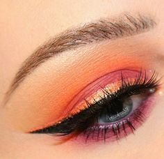 Peach and orange eye makeup