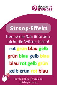 Psychologie: Stroop-Effekt mit Farben. Erfahre alles über die Farb-Wort-Interferenz. Der Mensch ist ein Gewohnheitstier, trainierte Handlungen laufen nahezu automatisch ab, anders sieht es bei untrainierten Handlungen aus. Der Stroop-Effekt ist ein Phänomen, dass bei mentalen Verarbeitungskonflikten auftritt. Zum weiterlesen klicken, jetzt... #stroop #stroopeffekt #farben #farbwortinterferenz #verblüffend #interessant #lustig #memes #unterbewusstsein #psychologie Satire, Humor, A Good Man, Guys, Memes, Im Done, Hypnotized, Mental Health Therapy, Funny Memes