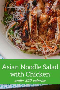 Asian Noodle Salad with Broiled Hoisin Chicken Thighs - Slender Kitchen