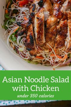 Asian Noodle Salad with Broiled Hoisin Chicken Thighs - Slender Kitchen