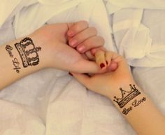 1434862497 couple with matching crowns tattoos