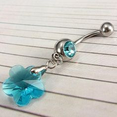 Crystal Prism Flower Belly Ring - Blue On SALE! #YouCanNeverHaveTooMany
