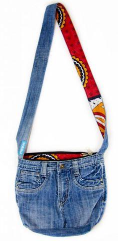 'Upcycled' Kanga lined Jean Bag