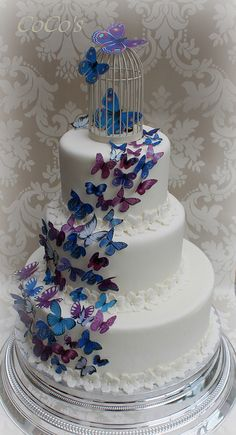 My wedding colors! Butterfly Wedding Cake, Butterfly Birthday Cakes, Butterfly Cakes, Wedding Flowers, Wedding Colors, Gorgeous Cakes, Pretty Cakes, Amazing Cakes, Quince Decorations