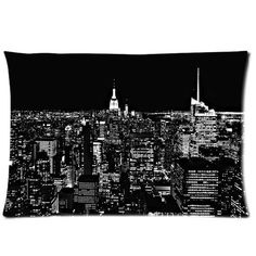 Huis-free New Ultra clear color high-definition image New york city skyline at night Cotton Decorative Pillowcase Pillowslip Bed Pillow / Cushion Case Cover Pillow Sham Zippered Two Sides Printed 20x30 Inches Pillowslip Bed Pillow Pillow cases