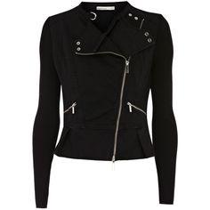 Karen Millen Black knit and denim jacket ($225) ❤ liked on Polyvore